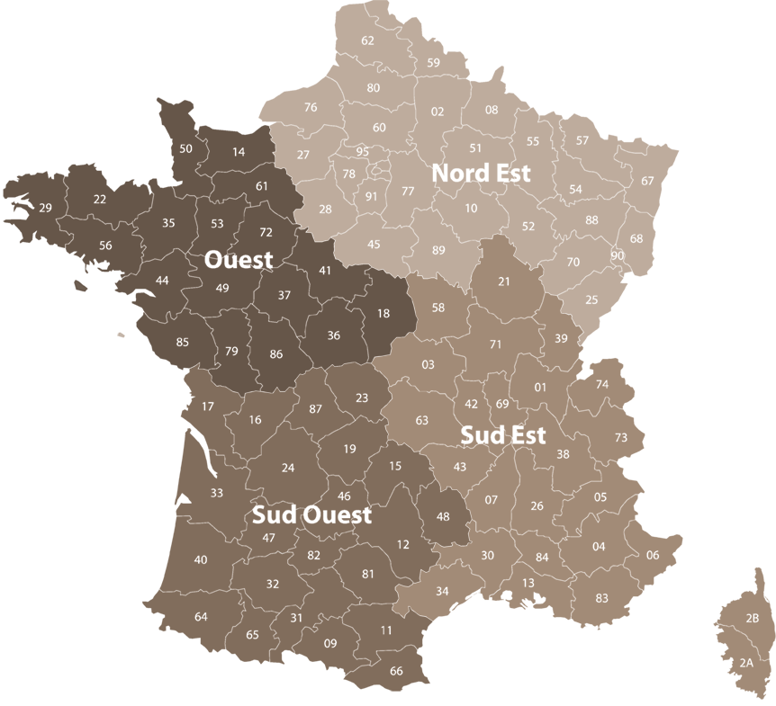Map showing distribution of sales staff